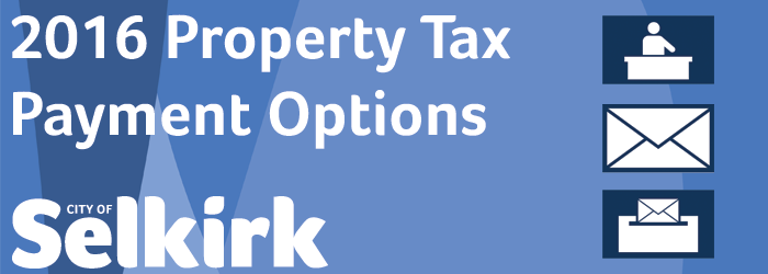 Property Tax Payment Options Graphic - Depicted by a blue patterned background with white text and images of the 3 payment options